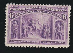 US 235 6c Columbian Exposition Mint F-VF OG NH SCV $140