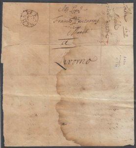 GB 1673 folded letter with FRANCHES marking on cover London to Livono (Italy)