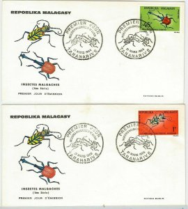 42923 - MADAGASCAR -  POSTAL HISTORY - set of 4  FDC COVER  -    INSECTS  1966