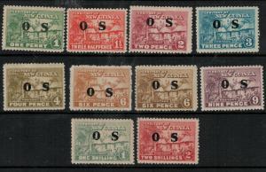 New Guinea 1925-1929 SC O1-O9,O6a Mint SCV $116.00 Set