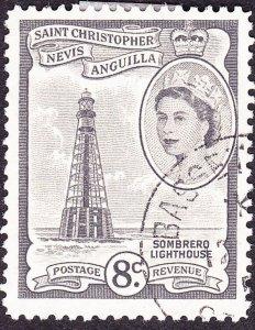 ST CHRISTOPHER NEVIS & ANGUILLA 1957 QEII 8cGrey-Black SG112bFU