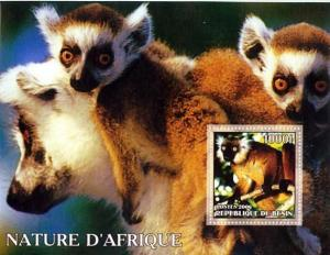 Lemurs from Africa on Stamps -  Stamp Souvenir Sheet 122-15