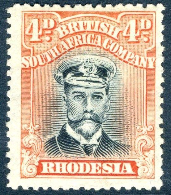 RHODESIA-1919 4d Black & Dull Red Sg 262 LIGHTLY MOUNTED MINT V18567