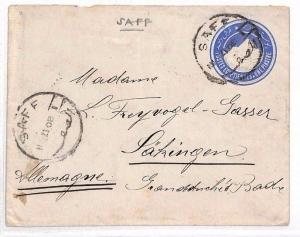AL69 1908 EGYPT Saff to Germany Cover. Postal Stationery {samwells-covers}