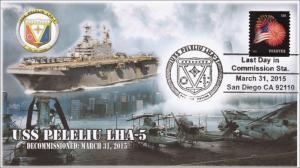 2015, USS Peleliu, Last day in Commission, Pictorial Postmark, 15-049
