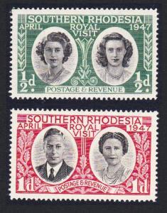 S. Rhodesia Royal Visit 1947 2v SG#62-63