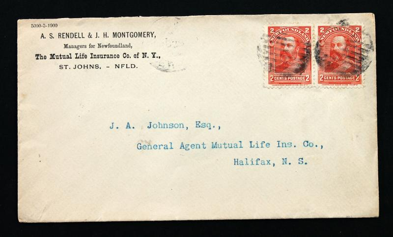 Stamp Newfoundland Sc# 82 pair on 1900 Commercial Cover