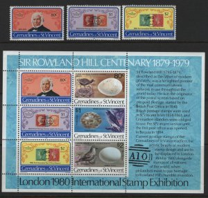 ST. VINCENT GRENADINES, 173-175A, SOUV. SHEET, MNH, 1979 Sir Rowland Hill type