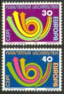 LIECHTENSTEIN 1973 EUROPA Set Sc 528-529 MNH