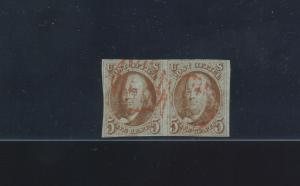 Scott #1 Franklin Imperf Used Pair of 2 Stamps (Stock 1-199)