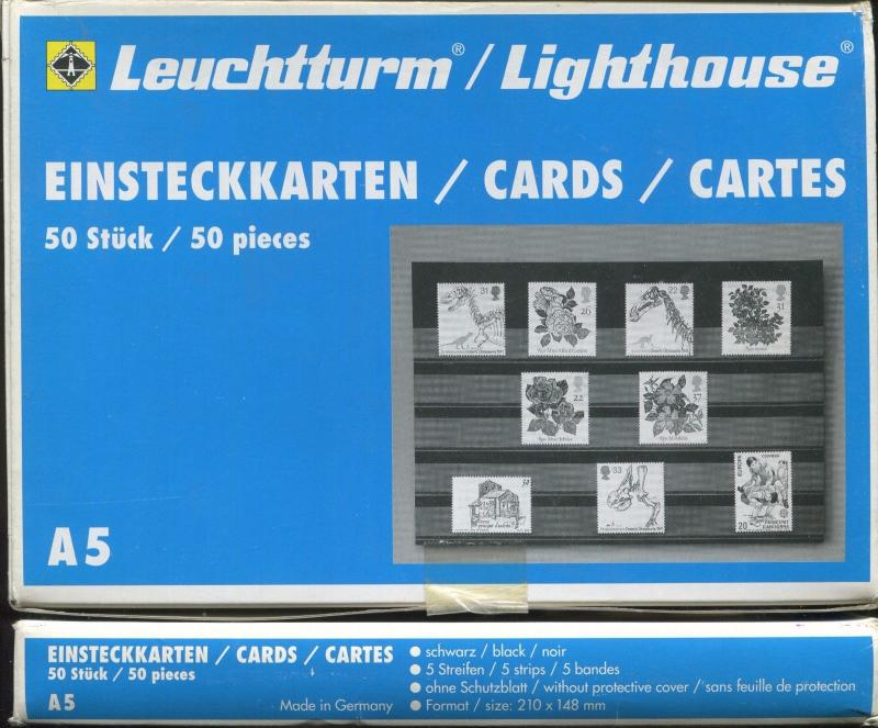 Lot of 10 Boxes - A5 Lighthouse Premium Stamp Collector Stock Cards 500 count