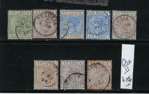 ST. LUCIA SCOTT #27-37 1883-98 VICTORIA DEFINITIVES- DIE B- USED