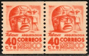 MEXICO 1004(2) 40¢ 1950 Def 6th Issue. COIL PAIR, MINT, NH. VF.