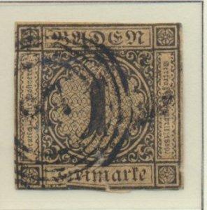 Baden (German State) Stamp Scott #1, Used - Free U.S. Shipping, Free Worldwid...