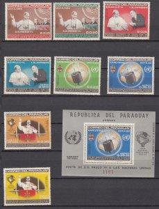Z3007 1965 paraguay set mnh + s/s #903-10a space/pope