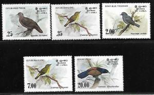 SRI LANKA 691-694, 877 MNH BIRDS SET