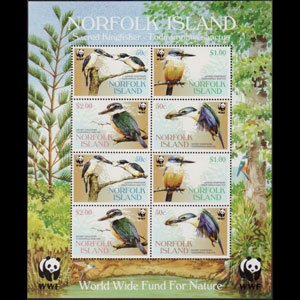 NORFOLK IS. 2004 - Scott# 835a Sheet-WWF Kingfishers NH