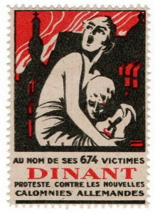 (I.B) Belgium Great War Cinderella : Anti-German Label (Dinant)