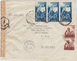 EGYPT WWII AIRMAIL CENSOR COVER TO USA
