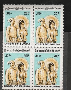 BURMA STAMP 1995 ISSUED CV $500 20P DEFINITIVE BURMA INSCRIBED BL OF 4,MNH