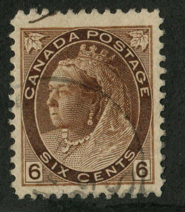 Canada #80 6c Deep Yellow Brown 1898-1902 Numeral Issue -  Re-Entry VF-75 Used