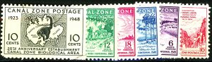 CANAL ZONE #141-146 USED/MINT MIXED CONDITION