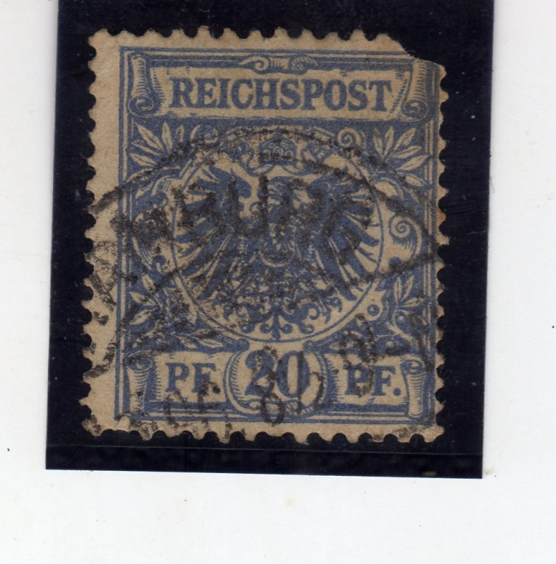 Value Stamp & Imperial Eagle 1889 20Pfg prussian blue sg49a
