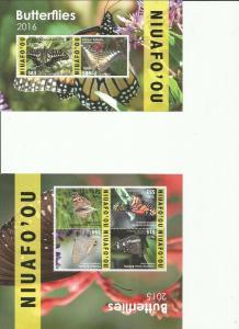 TONGA- NIUAFO'OU 2015 BUTTERFLIES SCOTT CE9A AND CE11A MNH SCV $325