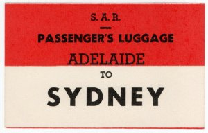(I.B) Australia - South Australia Railways : Luggage Label (Sydney)