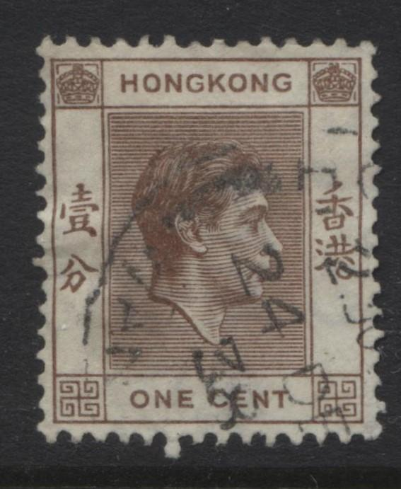 Hong Kong - Scott 154 - KGVI Definitive Issue- 1938 - FU - Single 1c Stamp