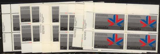 Canada #757 Mint 1978 14c Emblem - 9 Imprint Blocks - Face $5.04 VF-NH