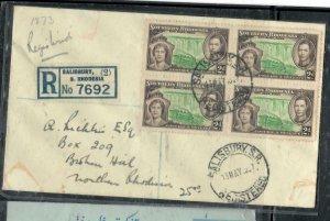 SOUTHERN RHODESIA COVER (P1808B) 1937 KGVI CORONATION 2D REG COVER TO N RHODESI