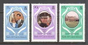 TURKS & CAICOS ISL. Sc# 486 - 488 var MNH FVF Set3 Royal Wed