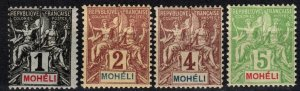 Moheli #1-4 F-VF Unused CV $14.25  (X4072)