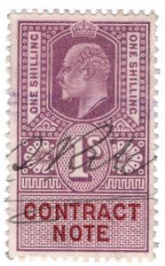 (I.B) Edward VII Revenue : Contract Note 1/- (1907)