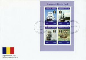 Chad 2019 FDC Captain James Cook Voyages 4v MS Cover Boats Ships Nautical Stamps