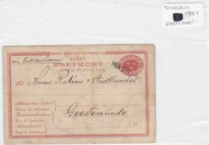 sweden 1887 postcard stamps cover ref 8881