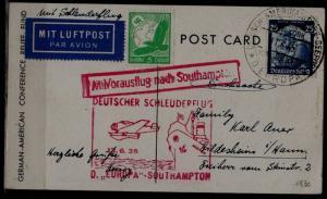 Germany Catapult card 13.6.35 Europa-Southampton, light crease