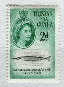 TRISTAN DA CUNHA; 1950s early QEII issue fine Mint hinged 2d. value