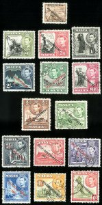 Malta Stamps # 208-22 Used XF Scott Value $37.50