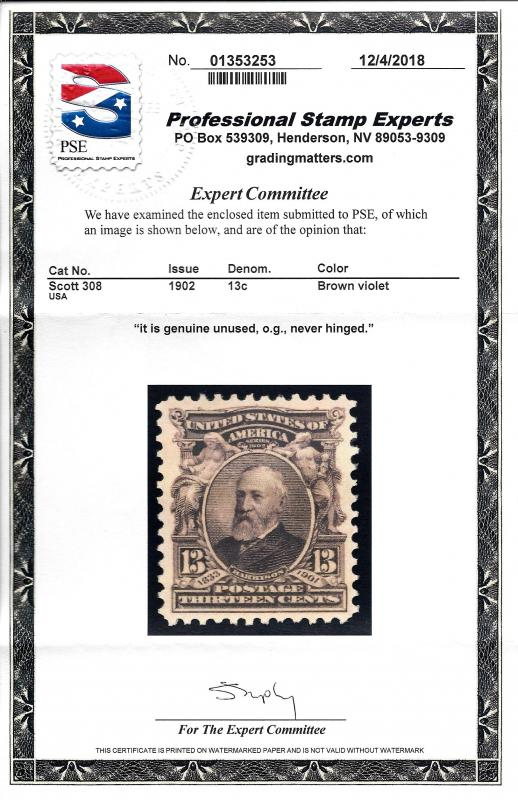 308 Mint,OG,NH... PSE Cert... SCV $100.00