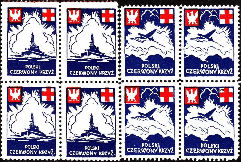 Stamp Label Poland Block WWII Poster Cinderella Red Cross Ship Airplane MNH
