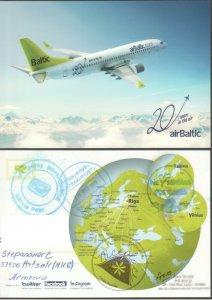 BALTIC LATVIA AIRPLANE CARD TO ARTSAKH KARABAKH ARMENIA R2021508