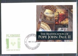 ST. VINCENT GRENADINES UNION ISLAND BEATIFICATION OF POPE JOHN PAUL II S/S FDC