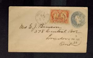 1893 Montreal Canada Cover to London Uprated Postal Stationery Envelope