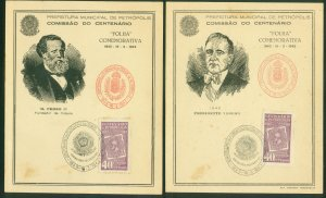 Brazil CENTENARY OF PETROPOLIS, TWO CACHETED POSTCARDS..F. (42)
