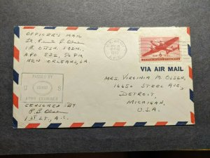 APO 832 FORT KOBBE, CANAL ZONE 1943 Censored WWII Army Cover 1st OSBN Sqdn