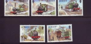 Jersey Sc 361-5 1985 100 yrs train stamps mint NH