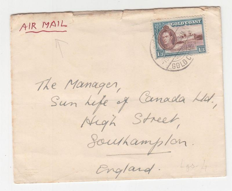 GOLD COAST, 1948 Airmail cover KGVI 1s.3, Accra to GB.