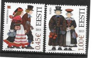2013  ESTONIA  -  SG. 706 / 707  -  FOLK COSTUMES   -  MNH